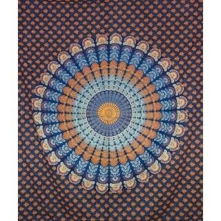 Handmade Multicolored Cotton Mandala Tapestry (India)