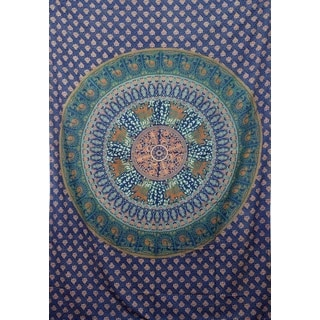 Handmade Blue Cotton Elephant Mandala Tapestry (India)