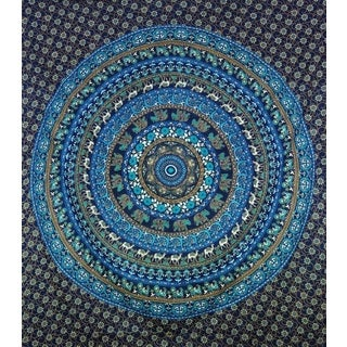 Handmade Blue Cotton Mandala Tapestry (India)