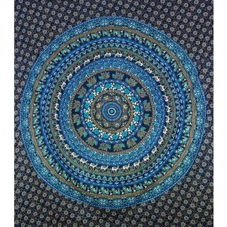 Handmade Blue Cotton Mandala Tapestry (India)