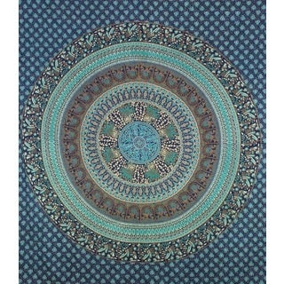 Handmade Blue and Green Cotton Mandala Tapestry (India)