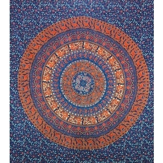 Handmade Blue and Orange Cotton Mandala Tapestry (India)