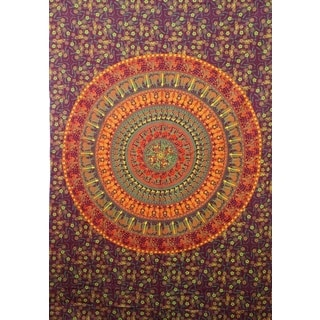 Handmade Multicolored Cotton Floral Mandala Tapestry (India)
