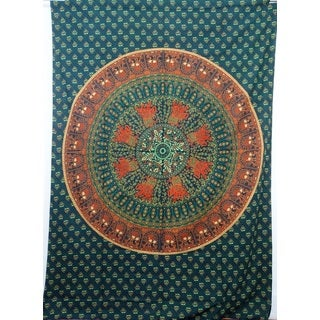 Handmade Teal Cotton Mandala Tapestry (India)