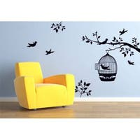 Birds Cage Tree Branch Zoo Wild Animals Wall Decal Art Vinyl  Sticker Decal Size 22x30 Color Black