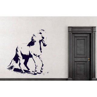 Horse Mustang Decal Wild Animals Decor Wall Decal Art Vinyl Sticker Decal size 48x57 Color Black