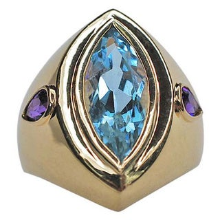 Kabella 14kt Marquis Blue Topaz and Amethyst Ring