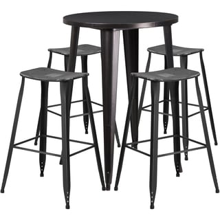 30-inch Round Black-Antique Gold Metal Indoor-Outdoor Bar Table Set with 4 Distressed Backless Saddle Seat Barstools