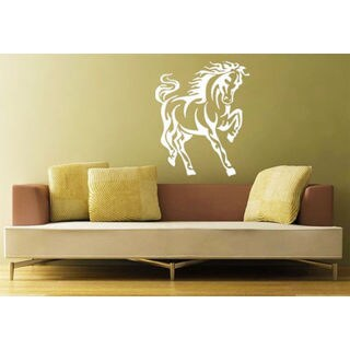 Horse Mustang Head Zoo Animals Decor Wall Decal Art Vinyl Sticker Decal size 22x26 Color White
