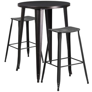 30-inch Round Black-Antique Gold Metal Indoor-Outdoor Bar Table Set with 2 Distressed Backless Saddle Seat Barstools