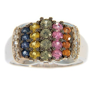 Sterling Silver Multi Colored Sapphire and White Topaz Ring