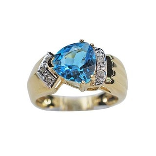 Kabella 14k Yellow Gold 2.5ct TGW Trillion Blue Topaz and .04ct TDW Diamond Ring (H-I, I1-I2)