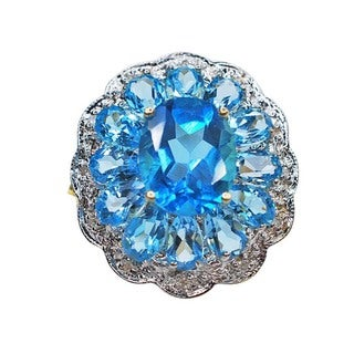 Kabella 14k Yellow Gold Blue Topaz and .06ct TDW Diamond Flower Estate Ring