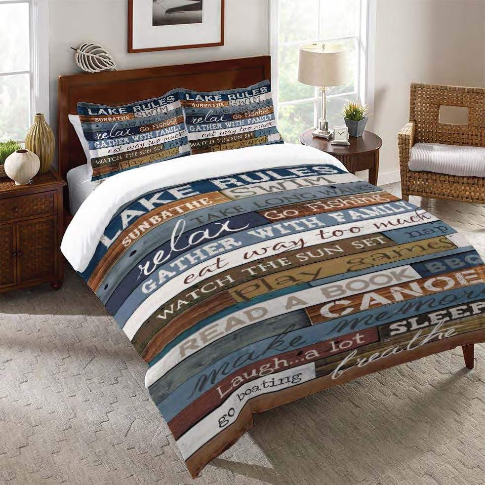Lake House Bedding Sets.Laural Home Rules Of The Lake Comforter