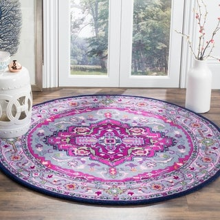 Safavieh Bellagio Handmade Bohemian Grey/ Pink Wool Rug (5' Round)