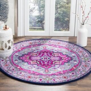 Safavieh Bellagio Handmade Bohemian Grey/ Pink Wool Rug - 5' Round