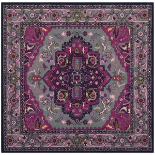 Safavieh Bellagio Handmade Bohemian Grey/ Pink Wool Rug (5' Square)