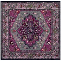 Safavieh Bellagio Handmade Bohemian Grey/ Pink Wool Rug - 5' Square