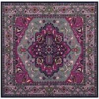 Safavieh Bellagio Handmade Bohemian Grey/ Pink Wool Rug (5' Square)