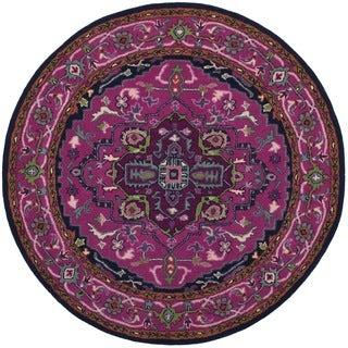 Safavieh Bellagio Handmade Bohemian Pink/ Navy Wool Rug (5' Round)