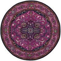 Safavieh Bellagio Handmade Bohemian Pink/ Navy Wool Rug - 5' Round