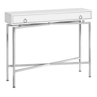 White Wood and Chrome Metal Entryway Console Accent Table