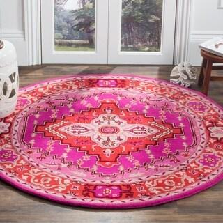 Safavieh Bellagio Handmade Bohemian Red/ Pink Wool Rug (5' Round)