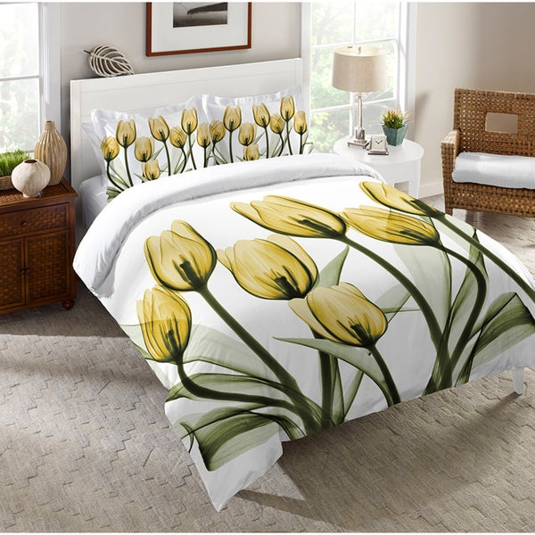 Laural Home X-Ray Gold Tulip Bouquet Comforter