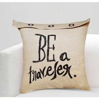 Handcrafted Sentiment 'Be A Traveller' Cotton Throw Pillow