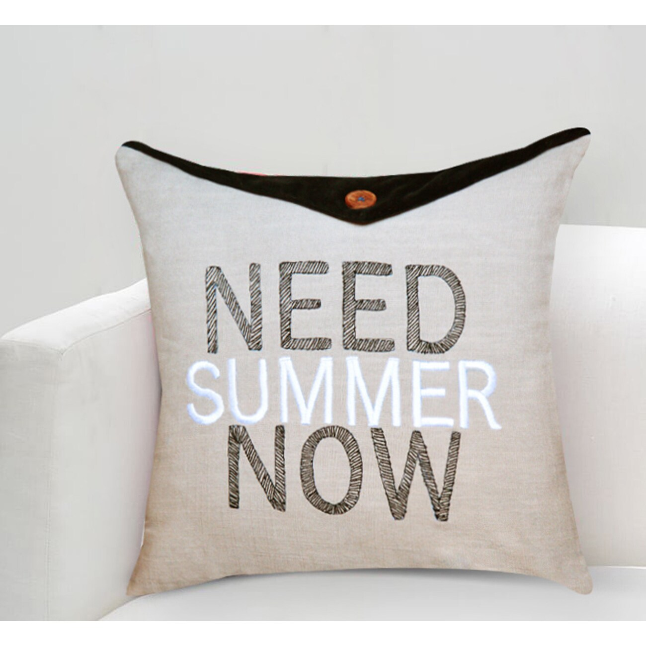 Need Summer Now Multicolored Cotton Throw Pillow (16 X 16)