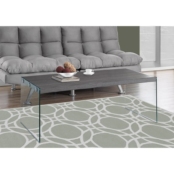 Shop Grey Veneer And Glass Contemporary Coffee Table