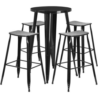 24-inch Round Metal Indoor-Outdoor Bar Table Set with 4 Backless Saddle Seat Barstools