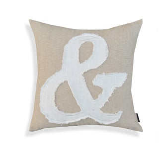"Alma Ampersand Beige Cotton Accent Pillow (18"" x 18"")"