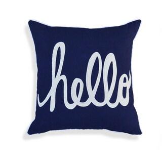 Ethla. Hello Navy Cotton Pillow (18-inch x 18-inch)