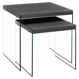 Contemporary Grey Veneer/ Glass Nesting Table Set