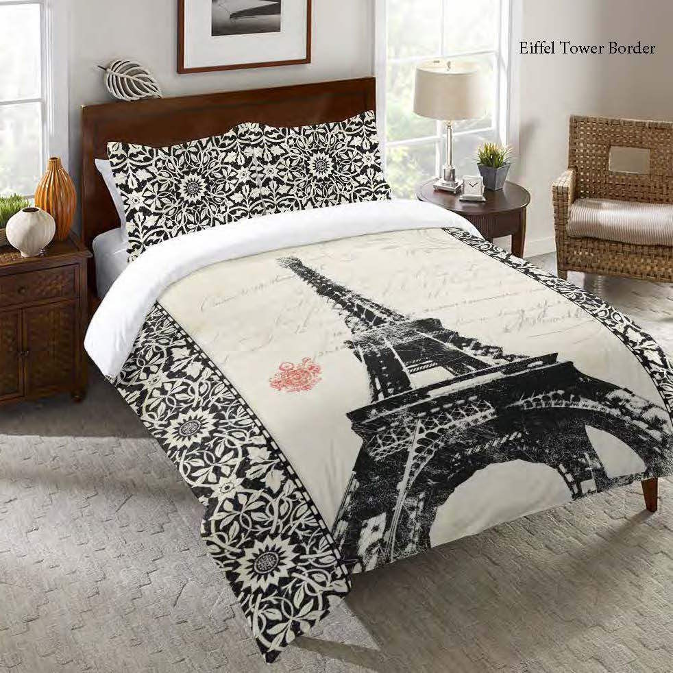 Laural Home Eiffel Tower Pattern Comforter (Twin), Black ...