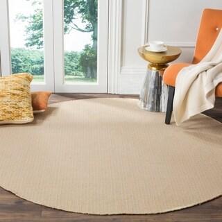 Safavieh Montauk Handmade Flatweave Ivory/ Yellow Cotton Rug (6' Round)