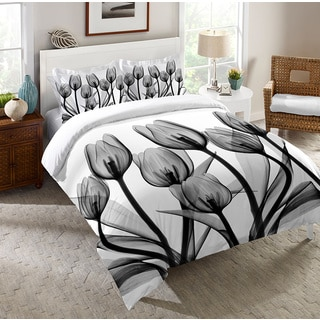 Laural Home X-Ray Monochromatic Tulips Comforter
