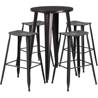 24-inch Round Black-Antique Gold Metal Indoor-Outdoor Bar Table Set with 4 Distressed Backless Saddle Seat Barstools