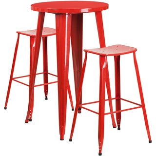 24-inch Round Metal Indoor-Outdoor Bar Table Set with 2 Backless Saddle Seat Barstools