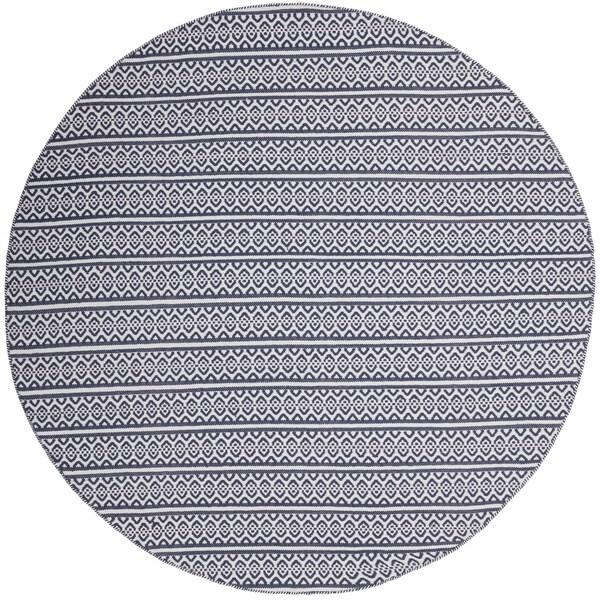 Safavieh Montauk Handmade Geometric Flatweave Ivory/ Navy Cotton Rug (6' Round)