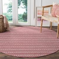 Safavieh Montauk Handmade Geometric Flatweave Ivory/ Red Cotton Rug - 6' Round