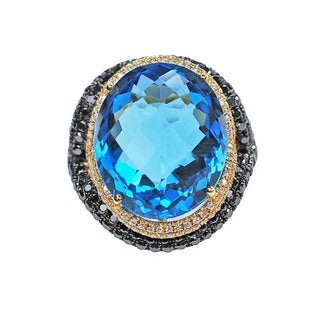 Kabella 18k Gold 19.5ct Quilt-Cut Blue Topaz and 1 1/10ct TDW Black and White Diamond Estate Ring