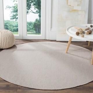 Safavieh Montauk Handmade Flatweave Ivory/ Grey Cotton Rug (6' Round)