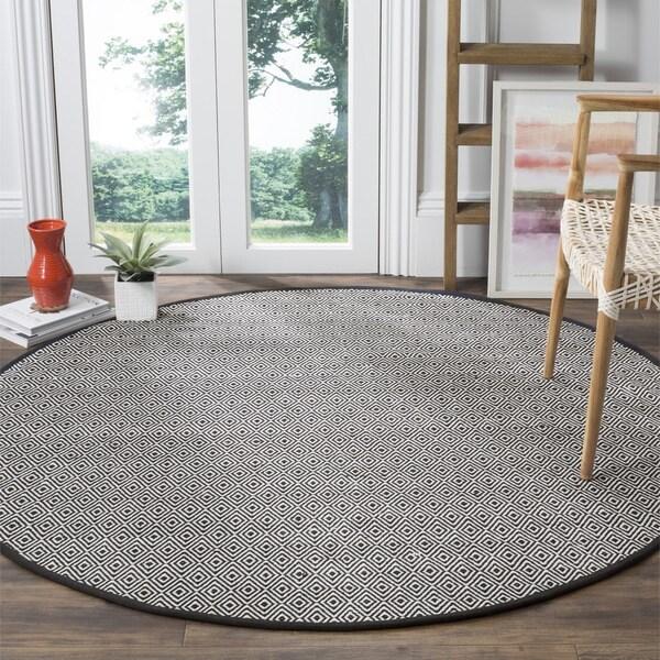 Safavieh Montauk Handmade Geometric Flatweave Ivory/ Navy Cotton Rug (4' Round)