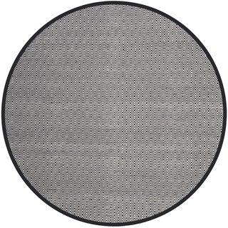 Safavieh Handmade Flatweave Montauk Eliina Casual Cotton Rug (6 x 6 Round - Ivory/Navy)
