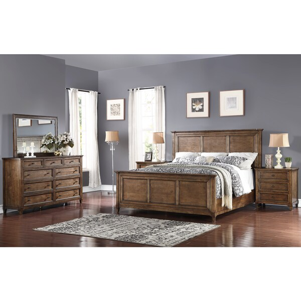 Abbyson Cypress Weathered Oak 5 Piece Queen Bedroom Set