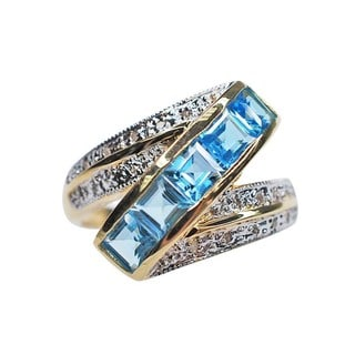 Kabella 14k Yellow Gold Square Blue Topaz and .09ct TDW Diamond Cocktail Ring