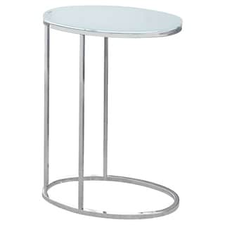 Frosted Glass/ Chrome Accent Snack Table