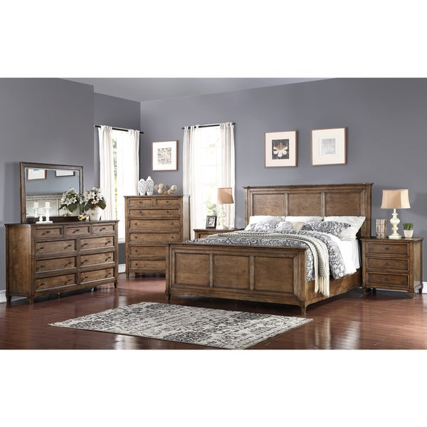 Abbyson Cypress Weathered Oak 6 Piece Queen Bedroom Set